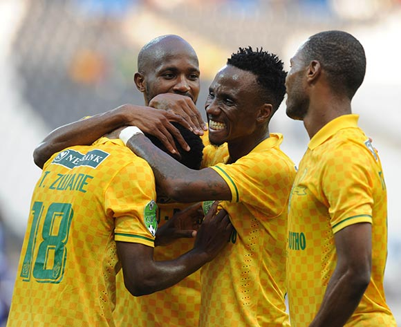 Themba Zwane of Mamelodi Sundowns reacts after scoring his team second goal  during the Nedbank Cup Match between Black Aces and Mamelodi Sundowns  on 12 April2015 at Mbombela Stadium Pic Sydney Mahlangu/BackpagePix