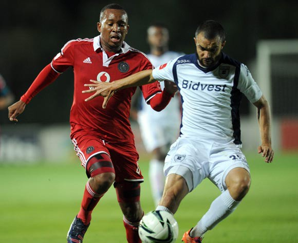 Lehlohonolo Majoro of Orlando Pirates battles with Dillon Sheppard of  Bidvest Wits  during the Absa Premiership Match between Bidvest Wits and Orlando Pirates  on 14 April 2015 at Bidvest Stadium