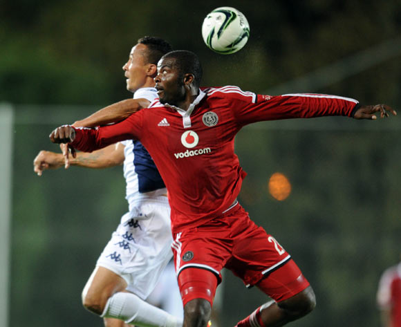Rooi Mahamutsa of Orlando Pirates battles with Henrico Botes of  Bidvest Wits  during the Absa Premiership Match between Bidvest Wits and Orlando Pirates  on 14 April 2015 at Bidvest Stadium