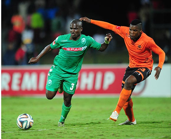 Tshepo Tema of Polokwane City and Goodman Dlamini of AmaZulu during the Absa Premiership 2014/15 football match between AmaZulu and Polokwane City at the Princess Magogo Stadium in Durban , Kwa-Zulu Natal on the 15th of April 2015  ©Sabelo Mngoma/BackpagePix