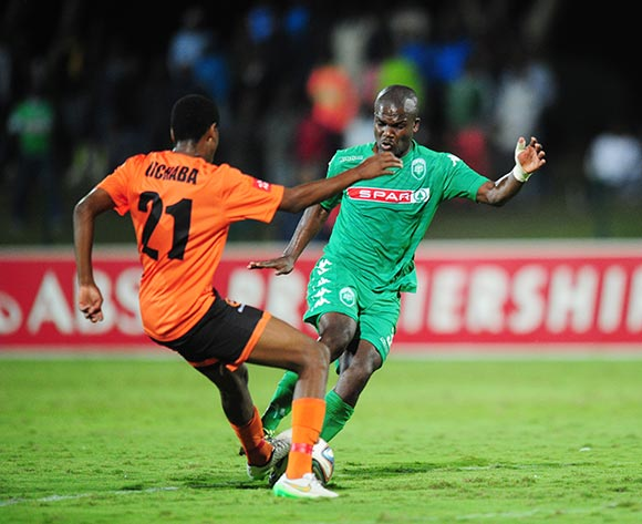 Goodman Dlamini of AmaZulu and Kabelo Lichaba of Polokwane City during the Absa Premiership 2014/15 football match between AmaZulu and Polokwane City at the Princess Magogo Stadium in Durban , Kwa-Zulu Natal on the 15th of April 2015  ©Sabelo Mngoma/BackpagePix