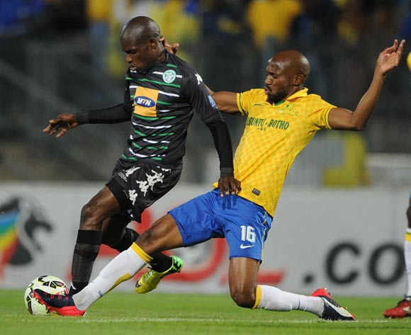 Lerato Lamola of Bloemfontein Celtic challenged by Ramahlwe Mphahlele of Mamelodi Sundowns during the Absa Premiership 2014/15 match between Mamelodi Sundowns and Bloemfontein Celtic at the Lucas Moripe Stadium, Attridgeville on the 15 April 2015