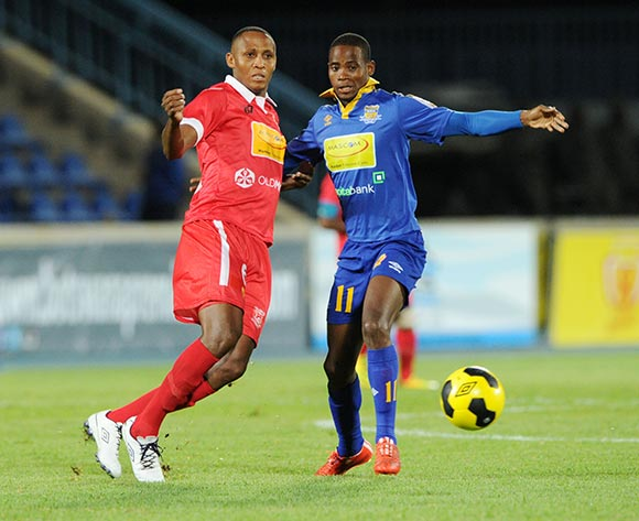 Segolame Boy of Township Rollers challenged by Ofentse Nato of Gaborone United during the 2015 Mascom Top 8 Final match between Township Rollers and Gaborone United at the National Stadium, Gaborone on the 18 April 2015  ©Muzi Ntombela/BackpagePix