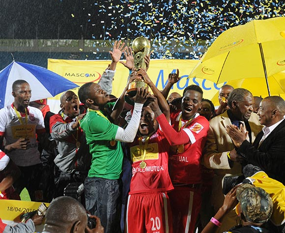 Gaborone United players celebrate victory during the 2015 Mascom Top 8 Final match between Township Rollers and Gaborone United at the National Stadium, Gaborone on the 18 April 2015  ©Muzi Ntombela/BackpagePix