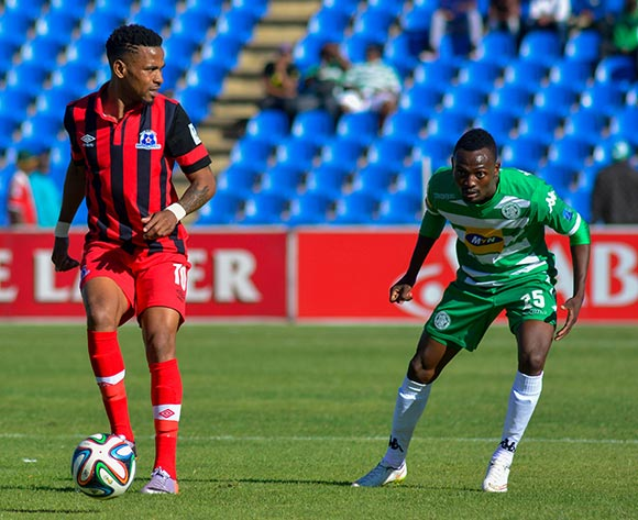 Nhlanhla Vilakazi of Maritzburg United and Mulenga Mukuka of Bloemfontein Celtic during the Absa Premiership match between Bloemfontein Celtic and Maritzburg United on 19 April 2015 at Kaizer Sebothelo Stadium ©Frikkie Kapp /BackpagePix