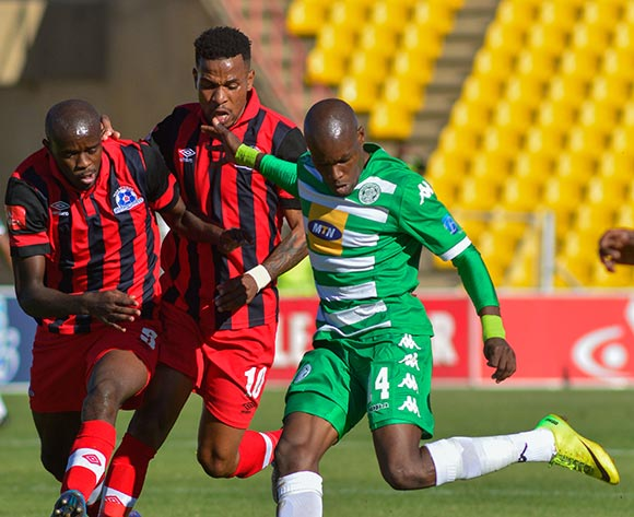 Kwanda Mngonyama and Nhlanhla Vilakazi of Maritzburg United and Lerato Lamola of Bloemfontein Celtic  during the Absa Premiership match between Bloemfontein Celtic and Maritzburg United on 19 April 2015 at Kaizer Sebothelo Stadium ©Frikkie Kapp /BackpagePix