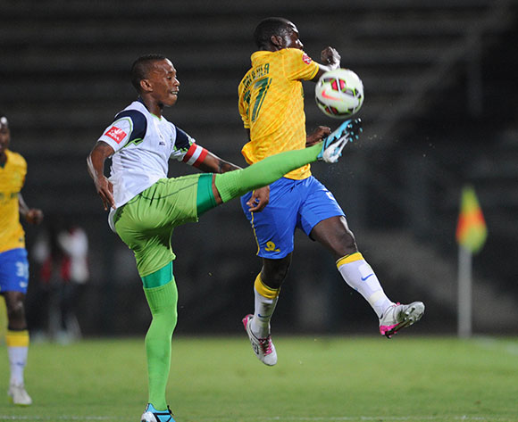 Cuthbert Malajila of Mamelodi Sundowns is challenged by Vuyo Mere of Platinum Stars during the Absa Premiership match between Mamelodi Sundowns and Platinum Stars  on 22 April 2015 at Lucas Moripe Stadium Pic Sydney Mahlangu/BackpagePix