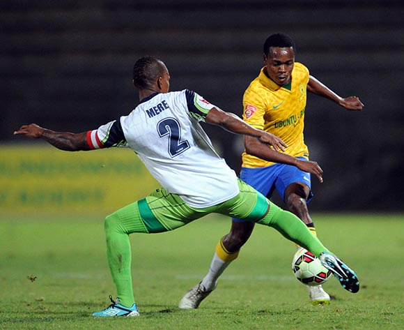 Percy Tau of Mamelodi Sundowns is challenged by Vuyo Mere of Platinum Stars during the Absa Premiership match between Mamelodi Sundowns and Platinum Stars  on 22 April 2015 at Lucas Moripe Stadium Pic Sydney Mahlangu/BackpagePix
