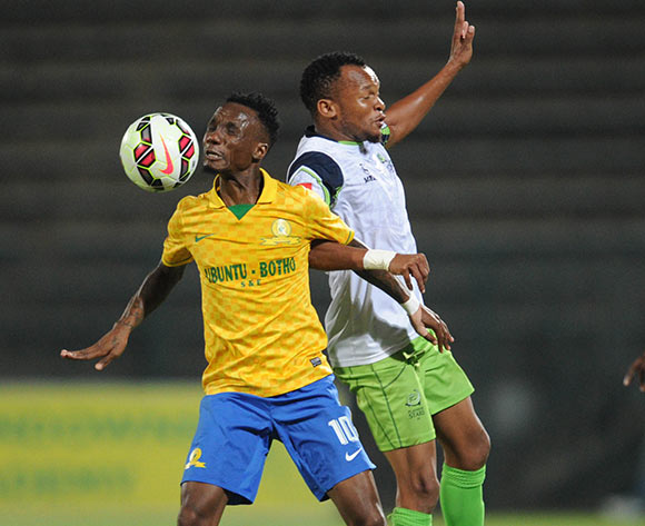Teko Modise of Mamelodi Sundowns  challenges Punch Masenamela of Platinum Stars during the Absa Premiership match between Mamelodi Sundowns and Platinum Stars  on 22 April 2015 at Lucas Moripe Stadium Pic Sydney Mahlangu/BackpagePix