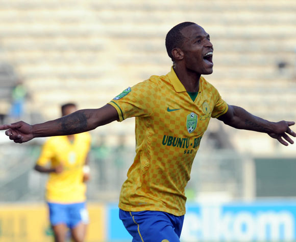 Mzikayise Mashaba of Mamelodi Sundowns celebrates his team first goal  during the Nedbank Cup Semi Final match between Mamelodi Sundowns and Vasco Da Gama  on 26 April 2015 at Lucas Moripe Stadium