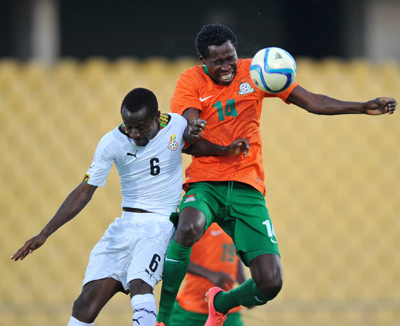 Kondwani Mtonga of Zambia battles with Michael Akuffu of Ghana during the 2015 Cosafa Cup Plate Semi Finals match between Zambia and Ghana at Royal Bafokeng Stadium, Rustenburg on the 27 May 2015