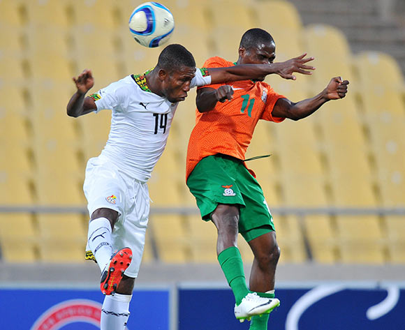 Joshua Tijani of Ghana battles with Allan Mukuka of Zambia during the 2015 Cosafa Cup Plate Semi Finals match between Zambia and Ghana at Royal Bafokeng Stadium, Rustenburg on the 27 May 2015  ©Muzi Ntombela/BackpagePix