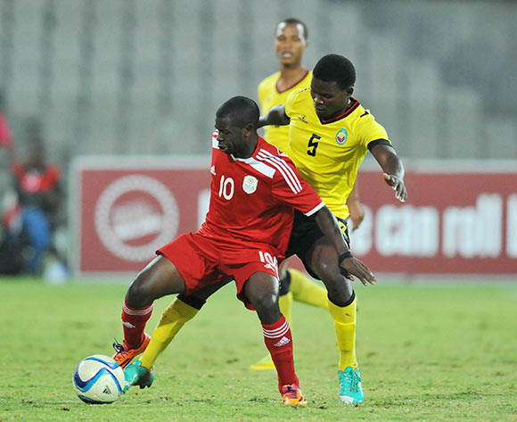 Wangu Gome of Namibia challenged by Norbert Marcelino of Mozambique during 2015 Cosafa Cup Final match between Namibia and Mozambique at Moruleng Stadium, Rustenburg on the 30 May 2015  ©Muzi Ntombela/BackpagePix