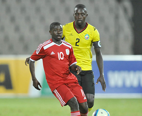 Wangu Gome of Namibia challenged by Momed Hagi of Mozambique during 2015 Cosafa Cup Final match between Namibia and Mozambique at Moruleng Stadium, Rustenburg on the 30 May 2015  ©Muzi Ntombela/BackpagePix
