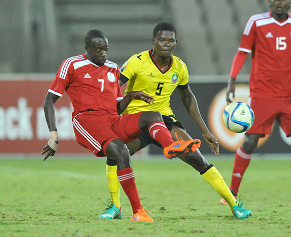 Deon Hotto of Namibia challenged by Norbert Marcelino of Mozambique during 2015 Cosafa Cup Final match between Namibia and Mozambique at Moruleng Stadium, Rustenburg on the 30 May 2015  ©Muzi Ntombela/BackpagePix