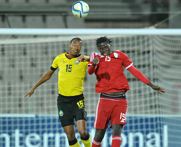 Francisco Muchanga of Mozambique battles with Benson Shilongo of Namibia during 2015 Cosafa Cup Final match between Namibia and Mozambique at Moruleng Stadium, Rustenburg on the 30 May 2015  ©Muzi Ntombela/BackpagePix