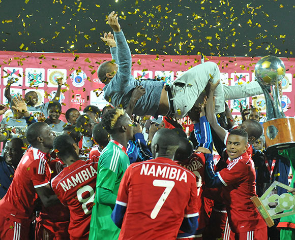 Ricardo Manetti, coach of Namibia celebrates his players during 2015 Cosafa Cup Final match between Namibia and Mozambique at Moruleng Stadium, Rustenburg on the 30 May 2015  ©Muzi Ntombela/BackpagePix