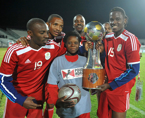 Namibia players celebrate winning the 2015 Cosafa Cup Final match between Namibia and Mozambique at Moruleng Stadium, Rustenburg on the 30 May 2015  ©Muzi Ntombela/BackpagePix