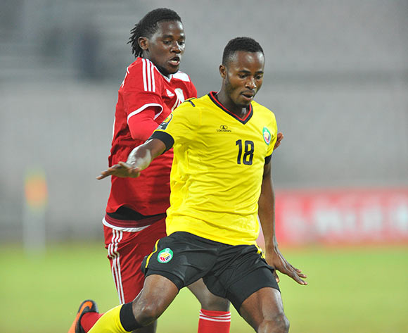 Ussama Nancuta Mahumane of Mozambique challenged by Benson Shilongo of Namibia during the 2015 Cosafa Cup final match between Namibia and Mozambique at the Moruleng Stadium in Rustenburg, South Africa on May 30, 2015 ©Samuel Shivambu/BackpagePix