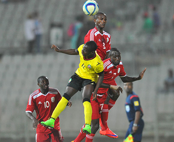 Luis Miquissone of Mozambique challenged by Deon Hotto of Namibia during the 2015 Cosafa Cup final match between Namibia and Mozambique at the Moruleng Stadium in Rustenburg, South Africa on May 30, 2015 ©Samuel Shivambu/BackpagePix