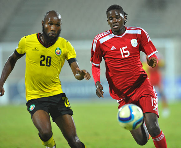 Benson Shilongo of Namibia challenged by Estevao Massango of Mozambique during the 2015 Cosafa Cup final match between Namibia and Mozambique at the Moruleng Stadium in Rustenburg, South Africa on May 30, 2015 ©Samuel Shivambu/BackpagePix
