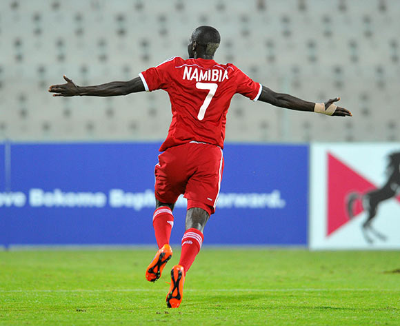 Deon Hotto of Namibia celebrates his goal during the 2015 Cosafa Cup final match between Namibia and Mozambique at the Moruleng Stadium in Rustenburg, South Africa on May 30, 2015 ©Samuel Shivambu/BackpagePix