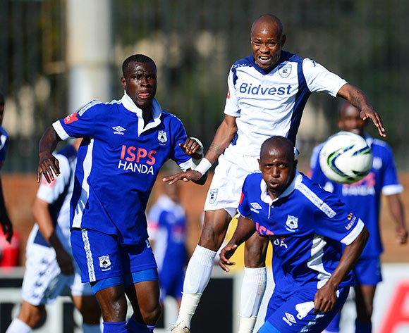 Edwin Gyimah of Mpumalanga Black Aces and Calvin Kadi of Bidvest Wits during the Absa Premiership Football match between Bidvest Wits and Mpumalanga Black Aces on May 2, 2015 ©Barry Aldworth/BackpagePix