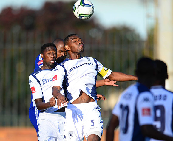 Thulani Hlatshwayo of Bidvest Wits heads the ballduring the Absa Premiership Football match between Bidvest Wits and Mpumalanga Black Aces on May 2, 2015 ©Barry Aldworth/BackpagePix