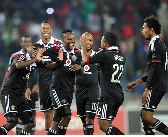 Kermit Erasmus of Orlando Pirates celebrates a goal with teammates during the CAF Confederation Cup match between Orlando Pirates and FC Mounana  on 02 May 2015 at Orlando Stadium Pic Sydney Mahlangu/BackpagePix