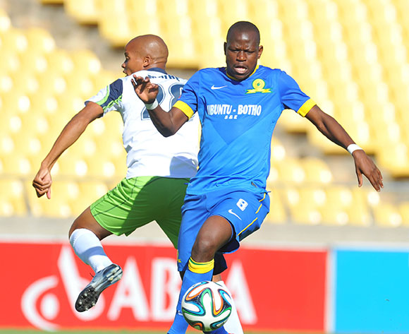 Hlompho Kekana of Mamelodi Sundowns challenged by Solomon Mathe of Platinum Stars during the Absa Premiership 2014/15 match between Platinum Stars and Mamelodi Sundownsd at the Royal Bafokeng Stadium in Rustenburg, South Africa on May 03, 2015 ©Samuel Shivambu/BackpagePix