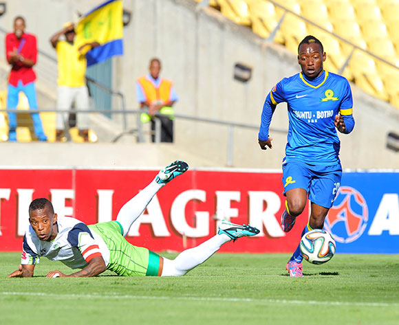 Khama Billiat of mamelodi Sundowns challenged by Vuyo Mere of Platinum Stars during the Absa Premiership 2014/15 match between Platinum Stars and Mamelodi Sundownsd at the Royal Bafokeng Stadium in Rustenburg, South Africa on May 03, 2015 ©Samuel Shivambu/BackpagePix