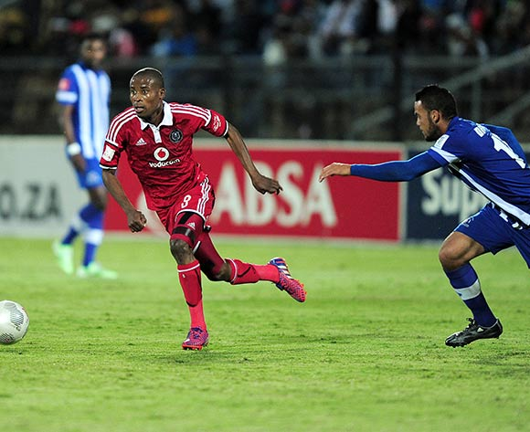 Thabo Matlaba of Orlando Pirates and Ryan De Jongh of Maritzburg United FC during the Absa Premiership match between Maritzburg United and Orlando Pirates at the Harry Gwala Stadium in Pietermaritzburg South Africa on May 06, 2015 ©Gerhard Duraan/BackpagePix