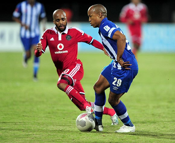 Kurt Lentjies of Maritzburg United FC and Oupa Manyisa Captain of Orlando Pirates  during the Absa Premiership match between Maritzburg United and Orlando Pirates at the Harry Gwala Stadium in Pietermaritzburg South Africa on May 06, 2015 ©Gerhard Duraan/BackpagePix