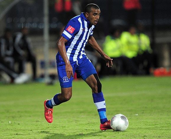 Deolin Mekoa of Maritzburg United FC during the Absa Premiership match between Maritzburg United and Orlando Pirates at the Harry Gwala Stadium in Pietermaritzburg South Africa on May 06, 2015 ©Gerhard Duraan/BackpagePix