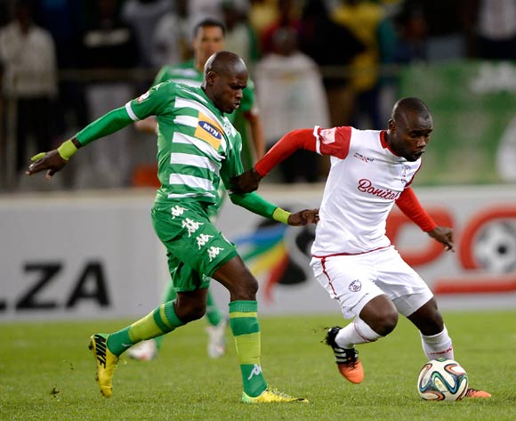 Lerato Lamola of Bloemfontein Celtic FC. and Makhehleni Makhaula of Free State Stars during the Absa Premiership match between Bloemfontein Celtic FC and Free State Stars at the Free State Stadium on 6 May 2015.