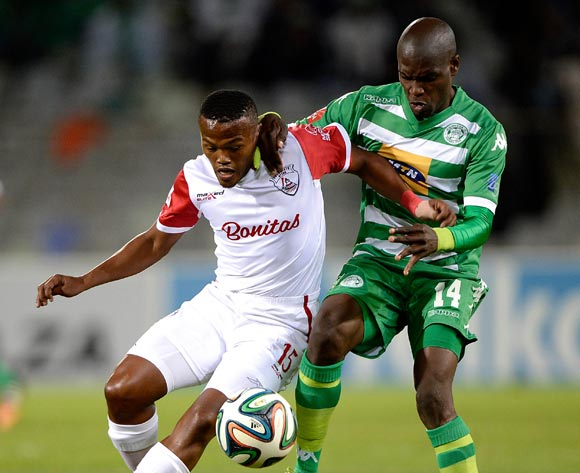 Angelo Kerspuy from Free State Stars FC and Lerato Lamola from Bloemfontein Celtic FC. during the Absa Premiership match between Bloemfontein Celtic FC and Free State Stars at the Free State Stadium on 6 May 2015.