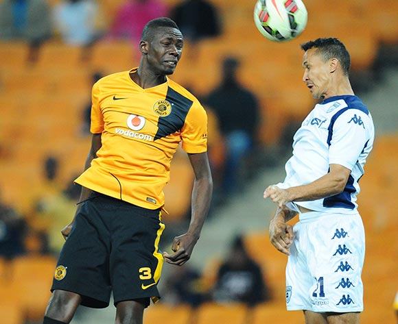 Henrico Botes of Bidvest Wits clears the ball from Erick Mathoho of Kaizer Chiefs during the Absa Premiership 2014/15 match between Kaizer Chiefs and Bidvest Wits at the FNB Stadium, Johannesburg on the 06 May 2015  ©Muzi Ntombela/BackpagePix