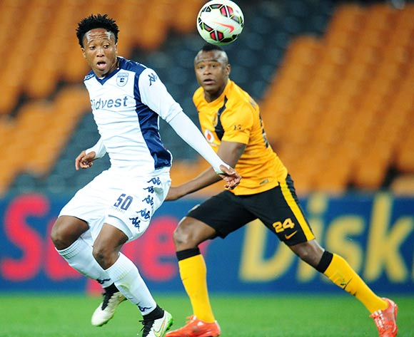 Patrick Sekese of Bidvest Wits challenged by Tsepo Masilela of Kaizer Chiefs  during the Absa Premiership 2014/15 match between Kaizer Chiefs and Bidvest Wits at the FNB Stadium, Johannesburg on the 06 May 2015  ©Muzi Ntombela/BackpagePix