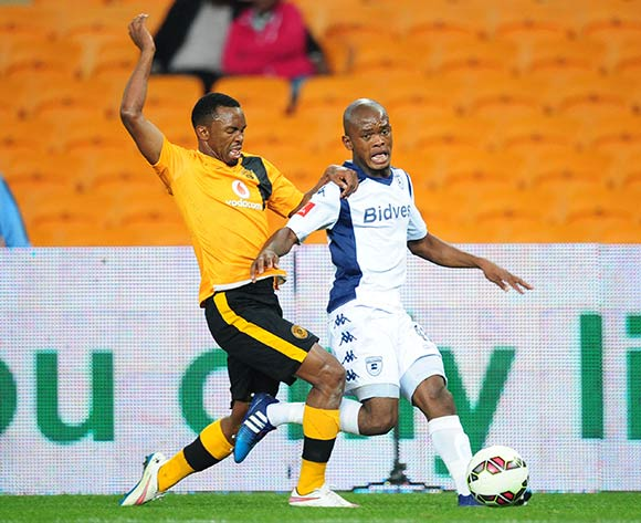 Phumlani Ntshangase of Bidvest Wits challenged by Bernard Parker of Kaizer Chiefs  during the Absa Premiership 2014/15 match between Kaizer Chiefs and Bidvest Wits at the FNB Stadium, Johannesburg on the 06 May 2015  ©Muzi Ntombela/BackpagePix