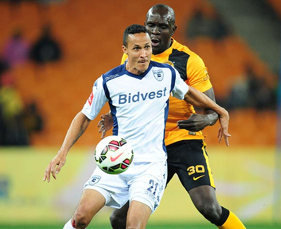 Henrico Botes of Bidvest Wits challenged by Ivan Bukenya of Kaizer Chiefs during the Absa Premiership 2014/15 match between Kaizer Chiefs and Bidvest Wits at the FNB Stadium, Johannesburg on the 06 May 2015  ©Muzi Ntombela/BackpagePix