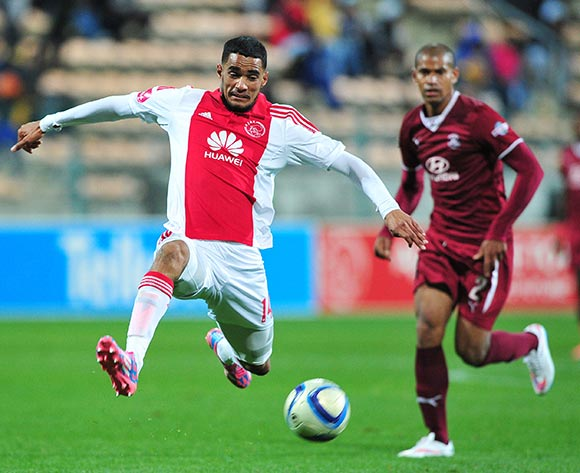 Tashreeq Morris of Ajax Cape Town and Rudi Isaacs of Moroka Swallows during the Absa Premiership 2014/15 game between Ajax Cape Town and Moroka Swallows at Athlone Stadium, Cape Town on 6 May 2015 ©Ryan Wilkisky/BackpagePix