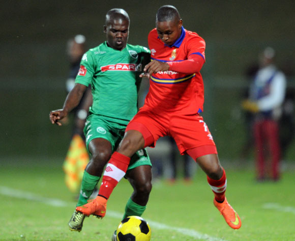 Goodman Dlamini of AmaZulu challenges Siyabonga Ngubane of University of Pretoria  during the Absa Premiership match between Tuks and AmaZulu  on 06 May 2015 at Tuks Stadium