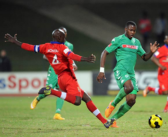 Tebogo Monyai of University of Pretoria  tackles Bongi Ntuli of AmaZulu during the Absa Premiership match between Tuks and AmaZulu  on 06 May 2015 at Tuks Stadium Pic Sydney Mahlangu/BackpagePix