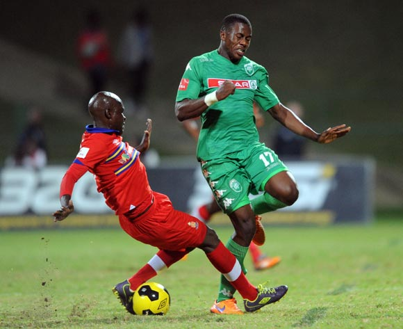 Tebogo Monyai of University of Pretoria  tackles Bongi Ntuli of AmaZulu during the Absa Premiership match between Tuks and AmaZulu  on 06 May 2015 at Tuks Stadium