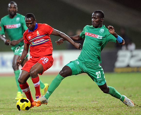 Khethukuthula Zwane of University of Pretoria evades a tackle from Tapelo Nyongo of AmaZulu during the Absa Premiership match between Tuks and AmaZulu  on 06 May 2015 at Tuks Stadium Pic Sydney Mahlangu/BackpagePix
