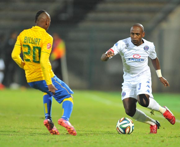 Sibusiso Khumalo of Supersport United challenged by Khama Billiat of mamelodi Sundowns during the Absa Premiership 2014/15 match between Supersport United and Mamelodi Sundownsd at the Lucas Moripe Stadium in Pretoria, South Africa on May 06, 2015