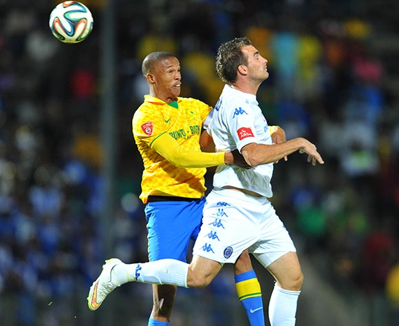 Bradley Grobler of Supersport United challenged by Thabo Nthethe of Mamelodi Sundowns during the Absa Premiership 2014/15 match between Supersport United and Mamelodi Sundownsd at the Lucas Moripe Stadium in Pretoria, South Africa on May 06, 2015 ©Samuel Shivambu/BackpagePix