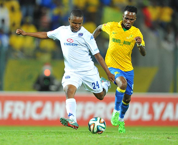 David Mathebula of Supersport United challenged by Teko Modise of Mamelodi Sundowns during the Absa Premiership 2014/15 match between Supersport United and Mamelodi Sundownsd at the Lucas Moripe Stadium in Pretoria, South Africa on May 06, 2015 ©Samuel Shivambu/BackpagePix