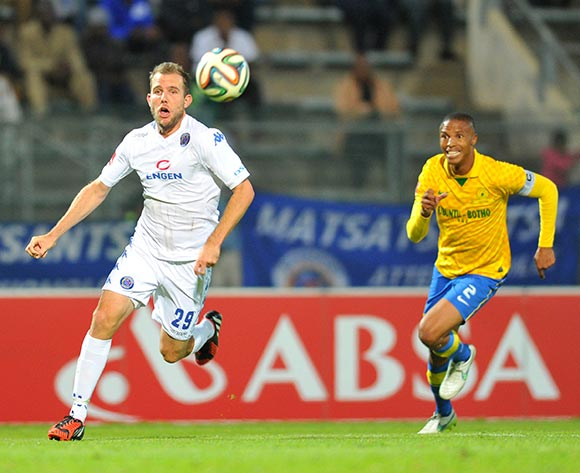 Jeremy Brockie of Supersport United challenged by Thabo Nthethe of Mamelodi Sundowns during the Absa Premiership 2014/15 match between Supersport United and Mamelodi Sundownsd at the Lucas Moripe Stadium in Pretoria, South Africa on May 06, 2015 ©Samuel Shivambu/BackpagePix