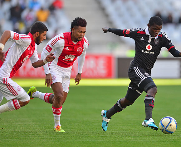 Sifiso Myeni of Orlando Pirates gets away from Granwald Scott of Ajax Cape Town and Riyaad Norodien of Ajax Cape Town during the Absa Premiership 2014/15 football match between Ajax Cape Town and Orlando Pirates at Cape Town Stadium, Cape Town on 9 May 2015 ©Chris Ricco/BackpagePix